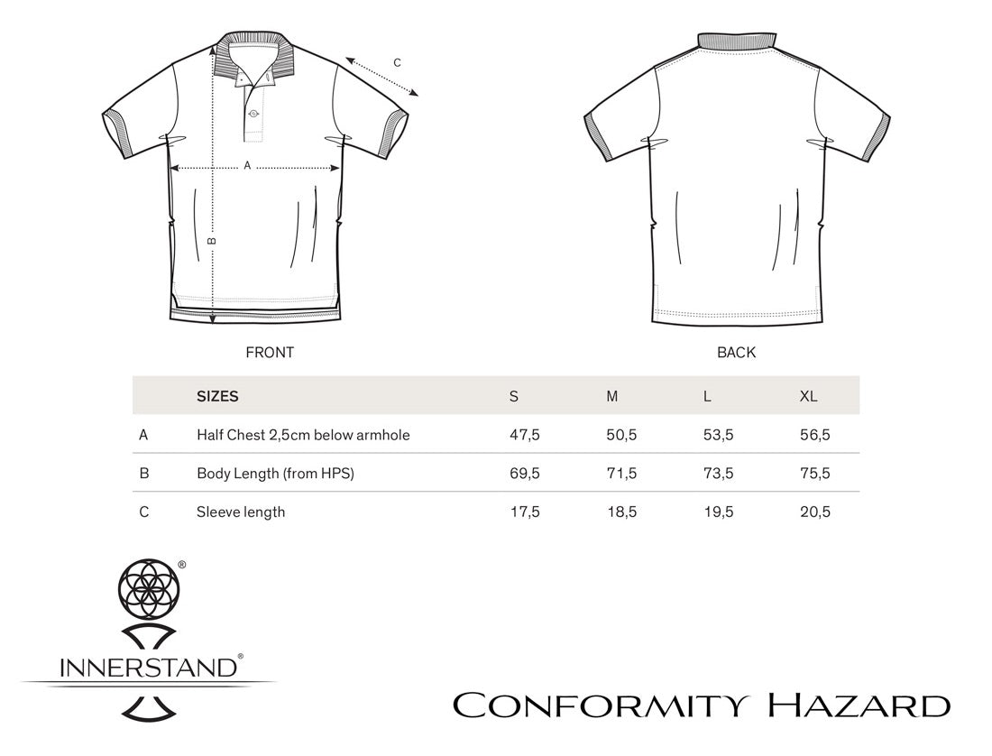 Conformity Hazard Polo Size Guide