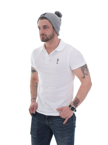 Signature Polo in White - 100% Organic Cotton - Front View
