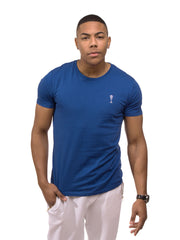 Signature T-Shirt in Blue - 100% Organic Cotton - Front View