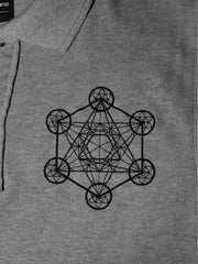 Metatron's Cube Polo in Heather Grey - 100% Organic Cotton - Embroidery Detail View