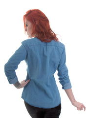 Fitted Ladies Light Denim Shirt - 100% Organic Cotton - Rear