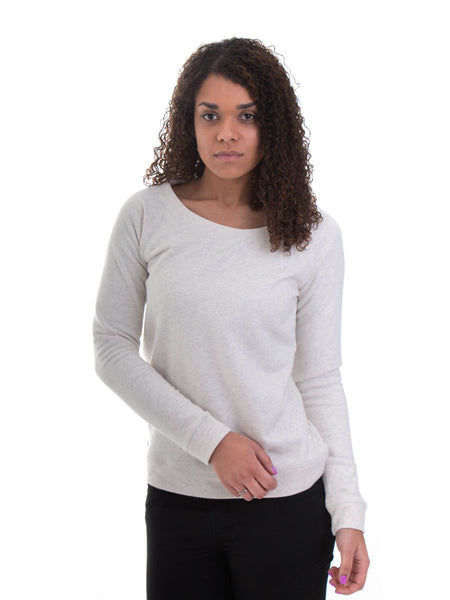 Fine-Knit Jumper - Heather Cream - Front - 85% Organic Cotton 15% Polyester