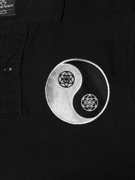 Yin Yang Polo in Black - 100% Organic Cotton - Front View