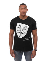 Mask T-Shirt in Black - 100% Organic Cotton - Front View