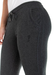 Women's Joggers - 85% Organic Cotton 15% Polyester - Dark Heather Grey - Side View with Logo