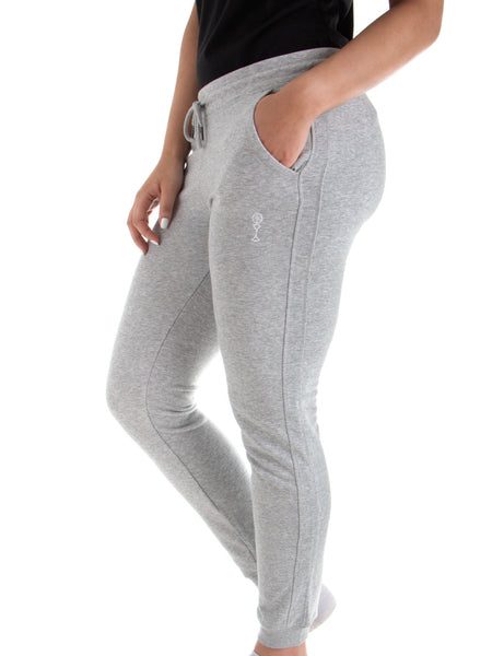 Women's Joggers - 85% Organic Cotton 15% Polyester - Heather Grey - Front View