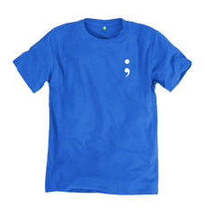 Blue Semicolon Tee - 100% Organic Cotton