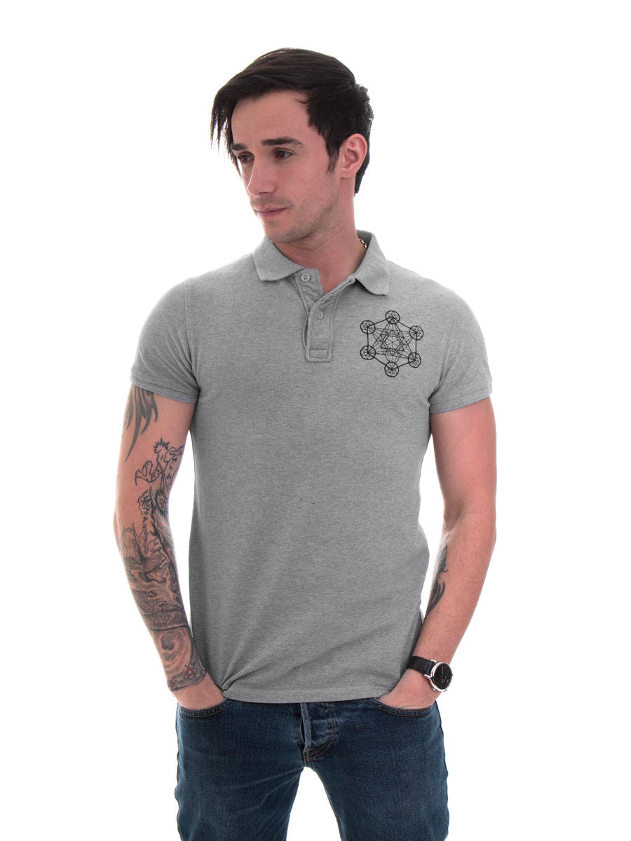 Metatron's Cube Polo in Heather Grey - 100% Organic Cotton - Front View