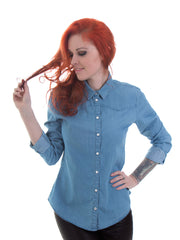 Fitted Ladies Light Denim Shirt - 100% Organic Cotton - Front