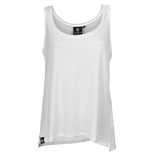 Signature Vest in White - 50% Organic Cotton 50% Tencel - Front View