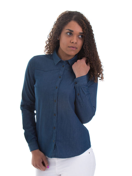 Fitted Ladies Dark Denim Shirt - 100% Organic Cotton - Front