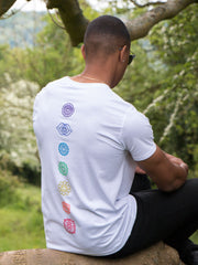 Chakras T-Shirt in White - 100% Organic Cotton - Lifestyle View
