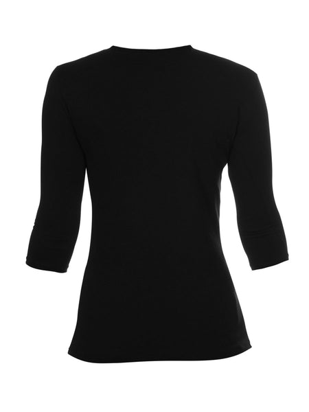 3/4 Length Sleeve Top in Black - 96% Organic Cotton 4% Elastane - Front View