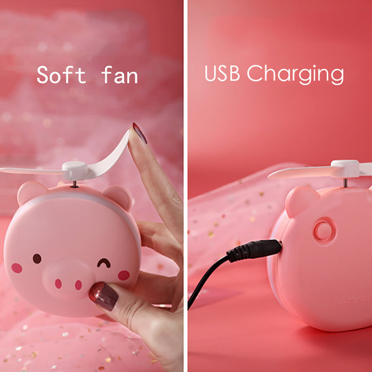 LED handheld fan makeup mirror mini USB charging night light