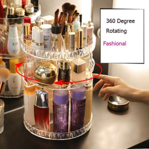 High Quality 360° Rotating Crystal Cosmetic Storage Box-Free shipping