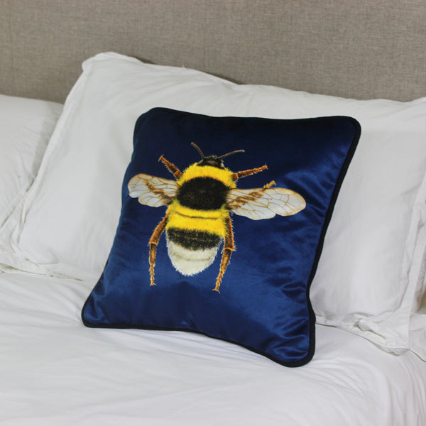 Velvet Navy Bee Cushion