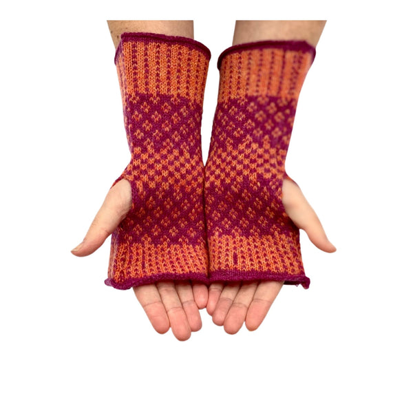 Knitted Merino Fingerless Gloves - Burnt Orange