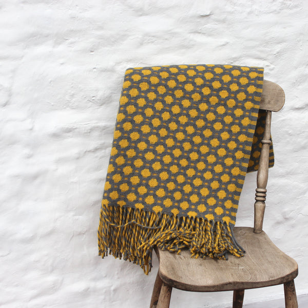 Croesi Blanket - Mêl - Mustard and Grey, Pure Wool