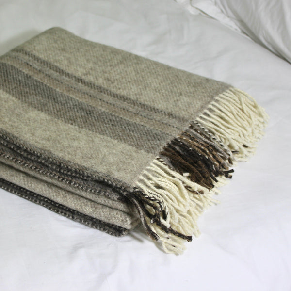 Soft Natural Welsh Blanket - Grey Wide Stripe