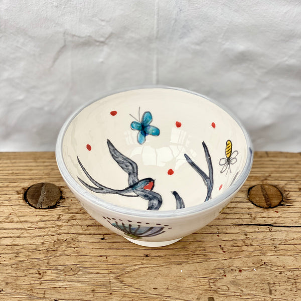 Hand-Painted 'Summer Swallow' Bowl