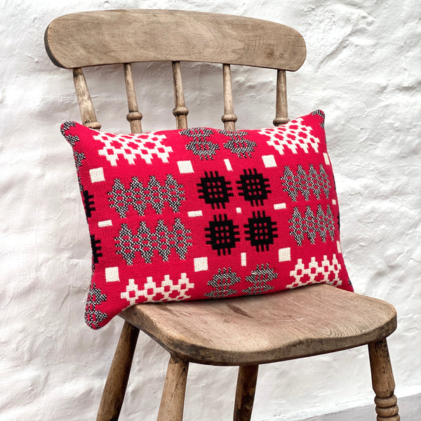 Welsh Tapestry Cushion - Red, White and Black