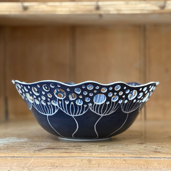Cow Parsley Bowl - Deep Blue - Large