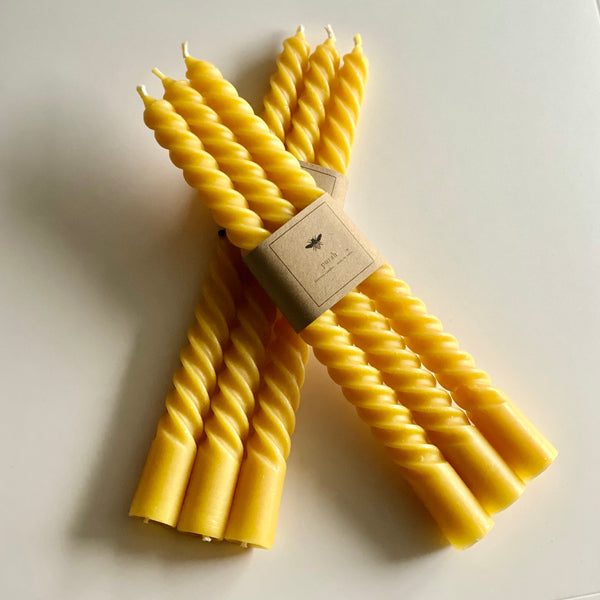 Beeswax Taper Twist Candles - Pack of Three