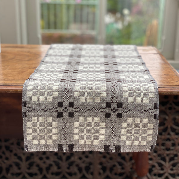 Tapestry Table Runner - Black White and Grey