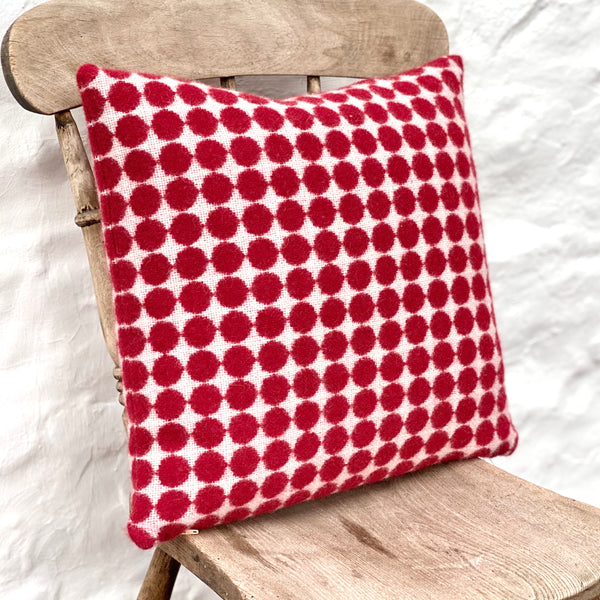 Red and White Spotty Welsh Tapestry Cushion - Square