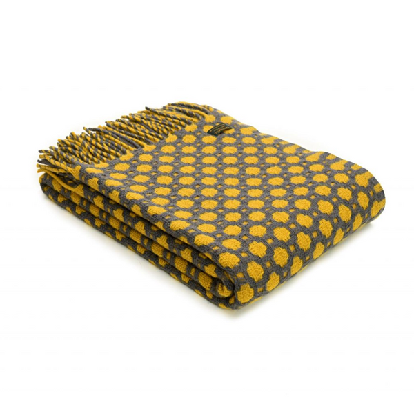 Mêl Blanket - Mustard and Grey, Pure Wool