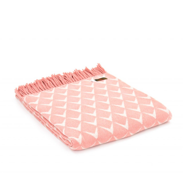Merino Throw - 'Pinc' Soft pink white