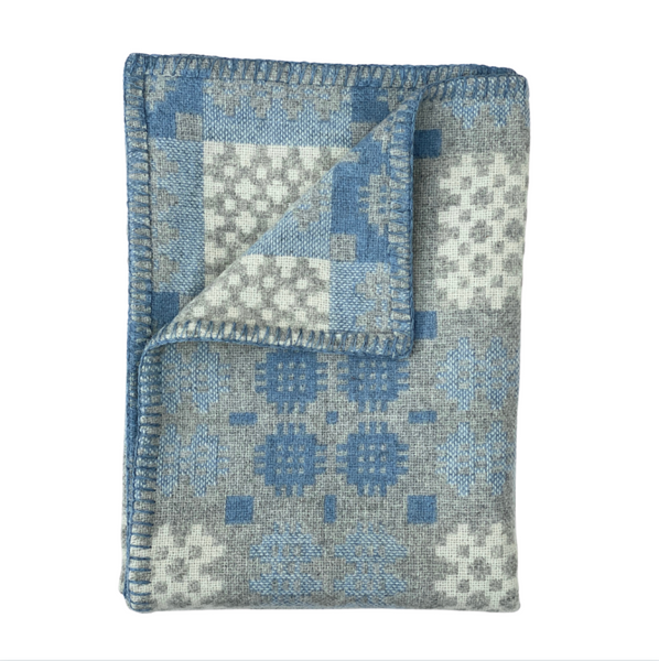 Pre-Order ''Hafod' Grey, Blue and White Tapestry Throw