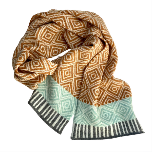 Merino Wool Knitted Scarf - Gold