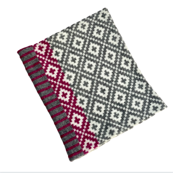 Merino Wool Snood Scarf - Grey and Plum
