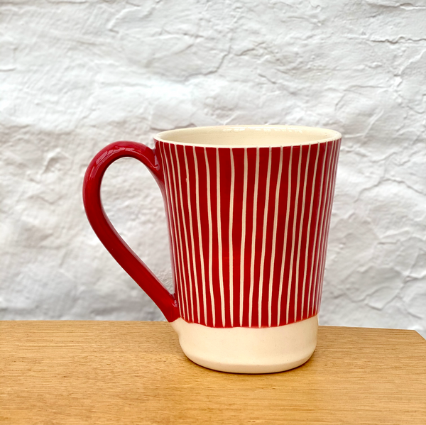 Hand-Thrown Red Rhesog Hug Mug