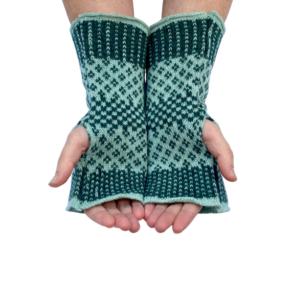Knitted Merino Fingerless Gloves - Pine