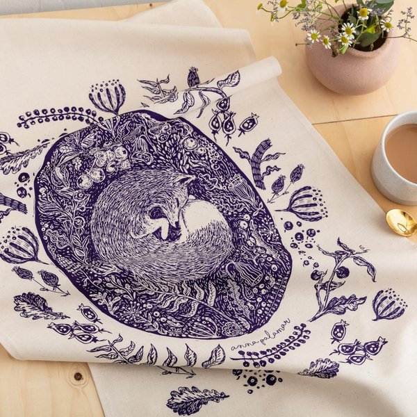 Screen Printed Fox Tea Towel
