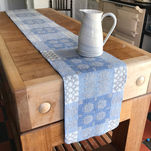 'Hafod' Grey, Blue and White Tapestry Table Runner