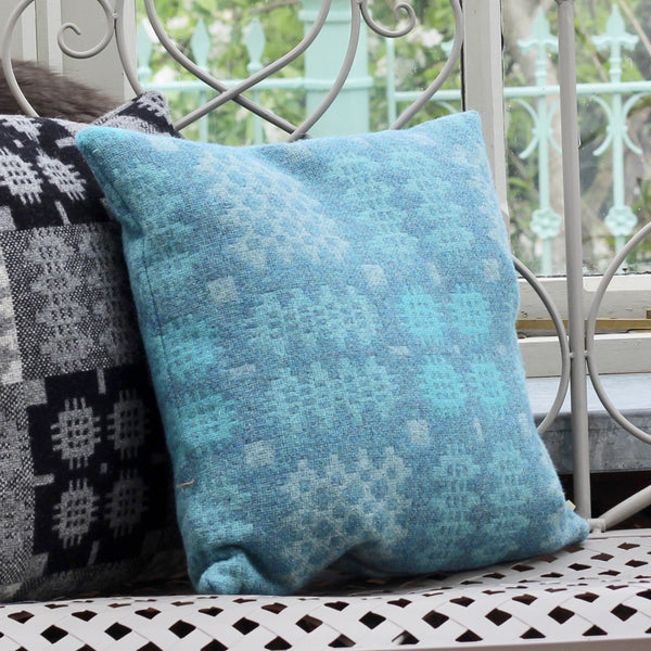 Teal Welsh Tapestry Cushion