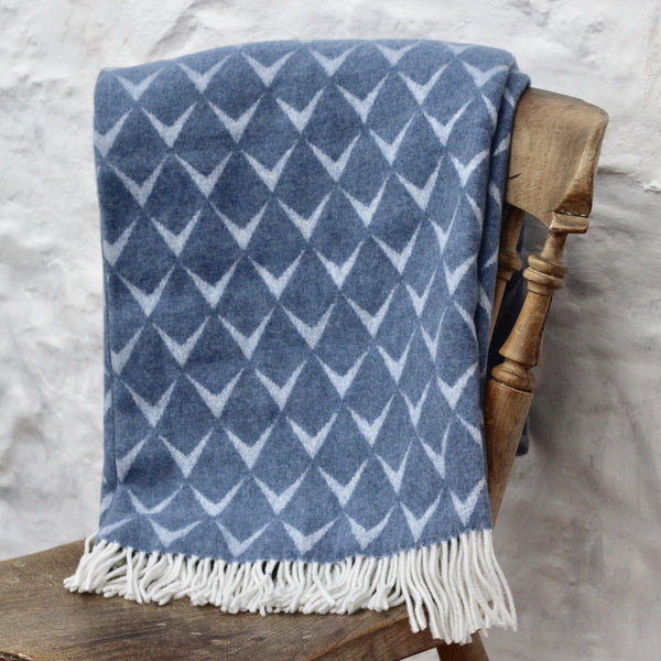 Mumbles Merino Blanket - Deep Blue/Grey