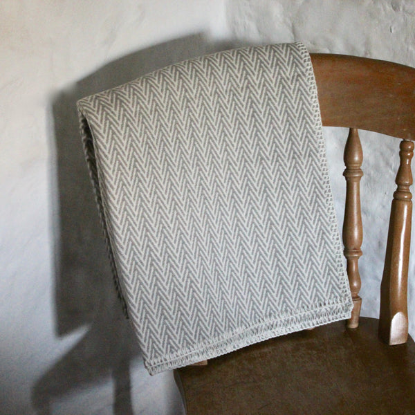 Harlech Organic Cotton Herringbone Throw