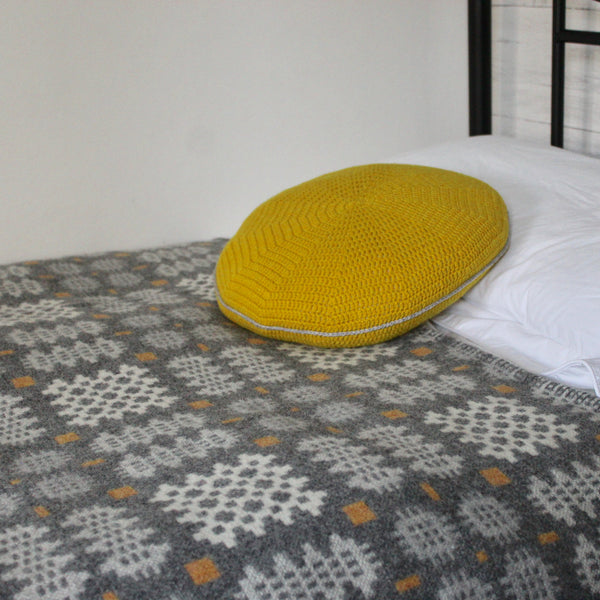 'Carreg' Grey, White and Yellow Tapestry Bedcover