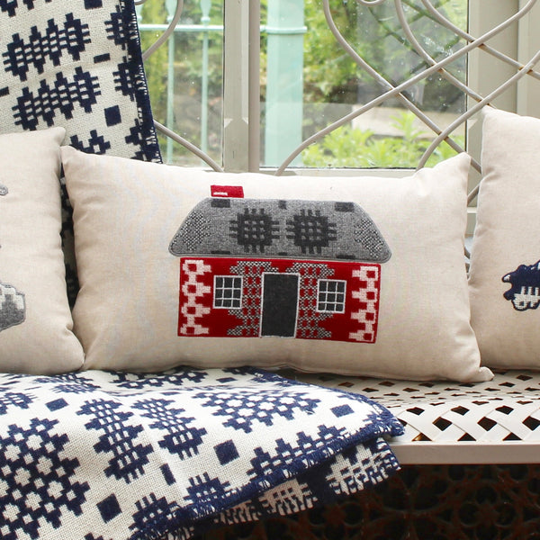 Welsh Cottage (Bwthyn) Wales Embroidered Cushion - Red and Grey