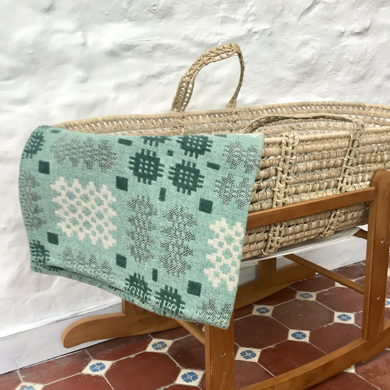 Welsh Tapestry Cot Blanket - 'Fforest' Green and Cream