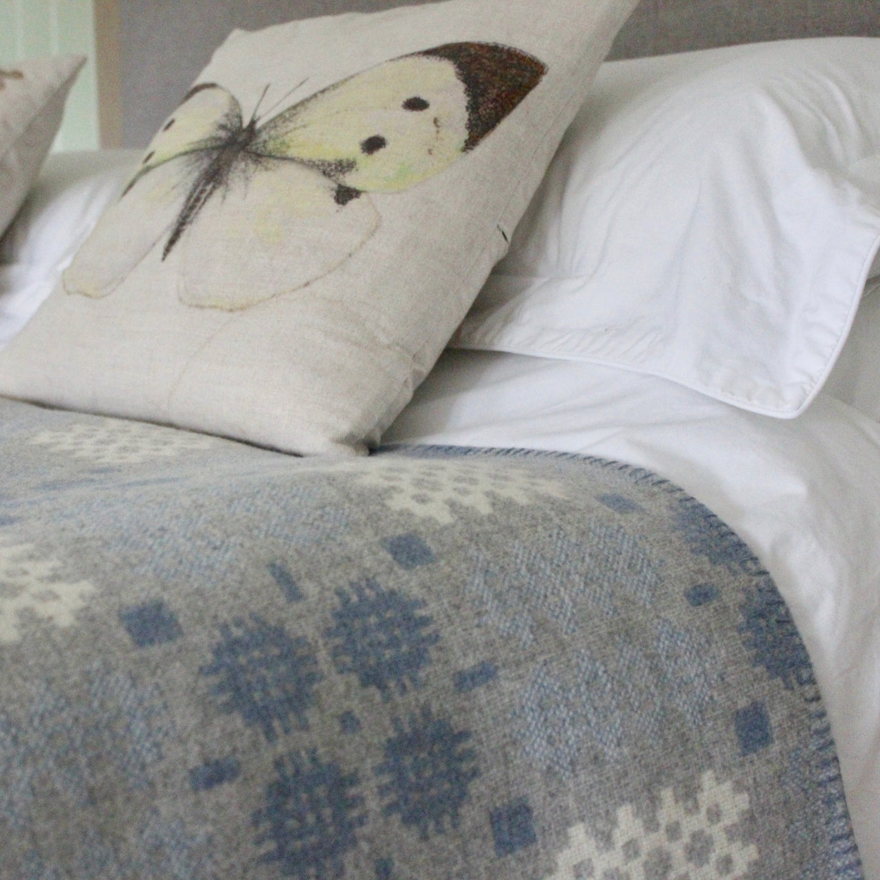 ''Hafod' Grey, Blue and White Tapestry Bedcover