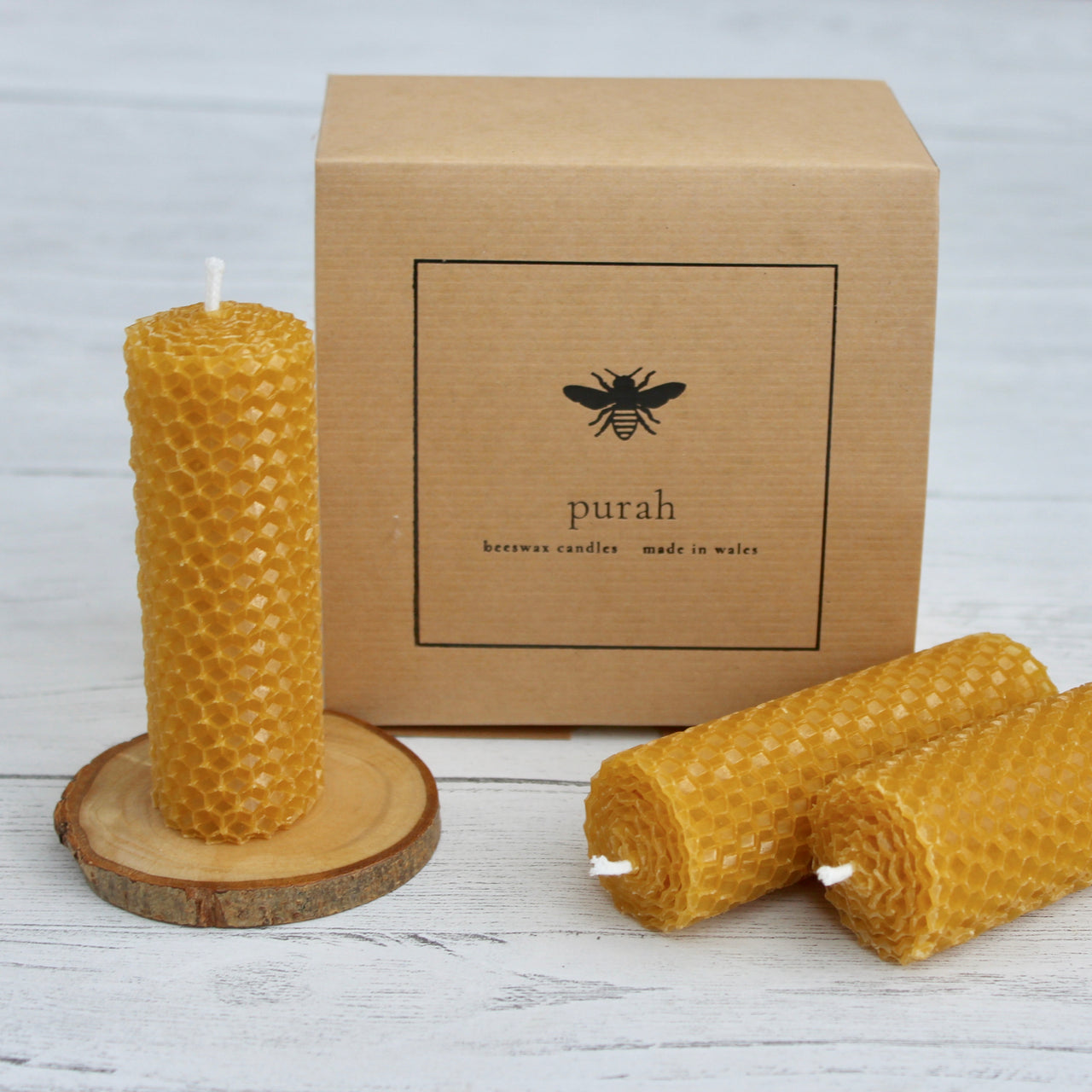 Beeswax Hand-Rolled Candles - Pack of Three