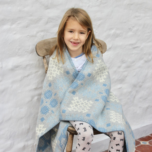 Welsh Tapestry Cot Blanket - 'Hafod' Grey and Blue