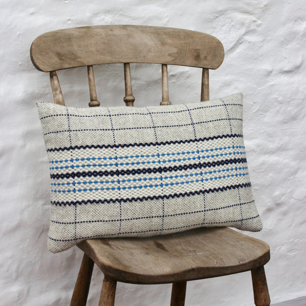 Handwoven Cushion - Royal Blue Stripe