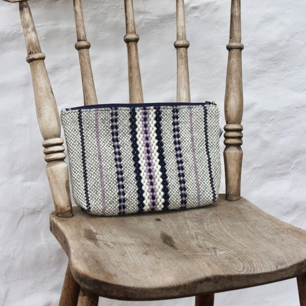 Handwoven Pouch - Lilac and Navy
