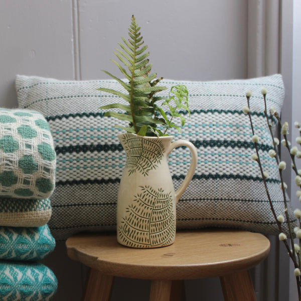 Small Hand-thrown Green Rhedyn 'Fern' Jug